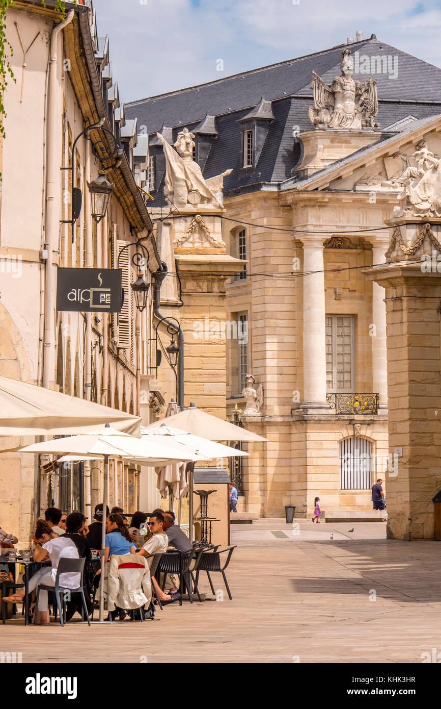 Cafe scene at Place de la Liberation Dijon Cote-d'Or  Bourgogne-Franche-Comté France Stock Photo