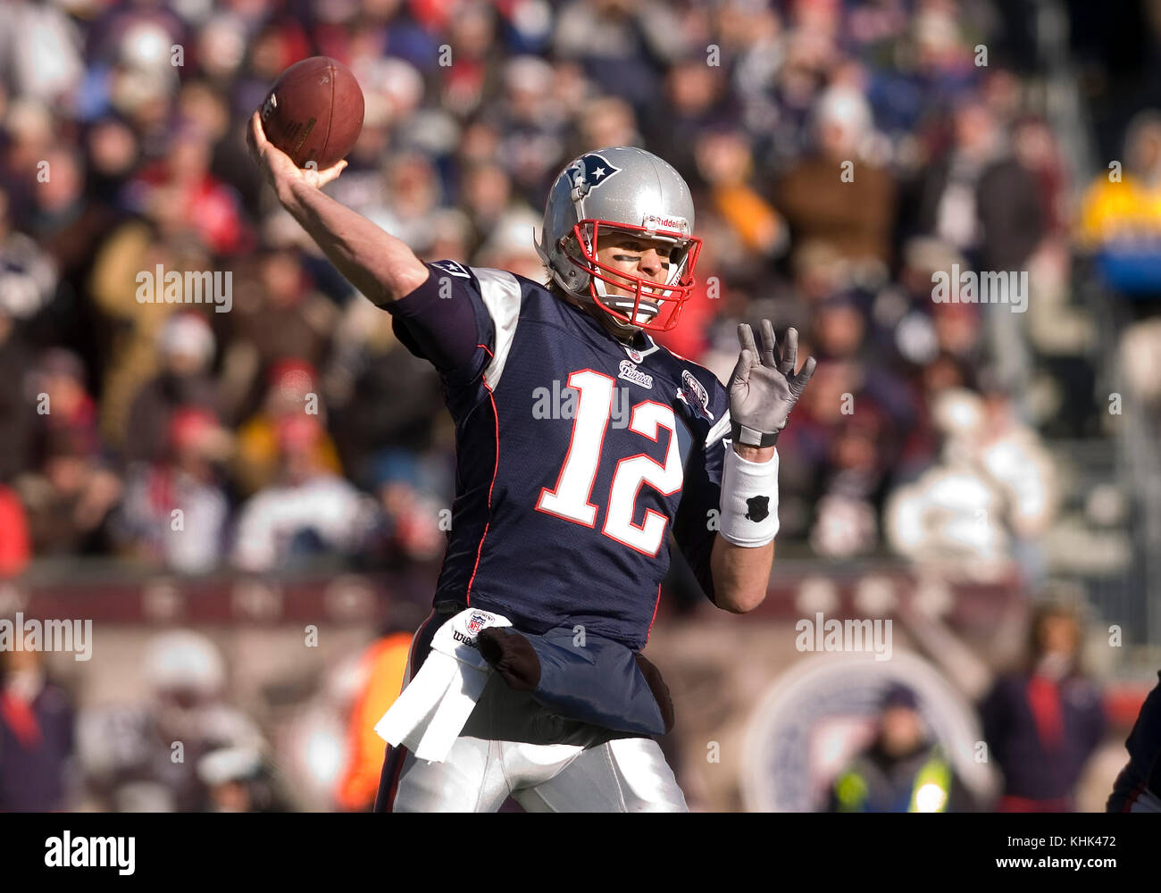 New England Patriot Quarterback Tom Brady (12) with a first quarter pass in a game at Gillette Stadium, Foxboro, - Stock Image