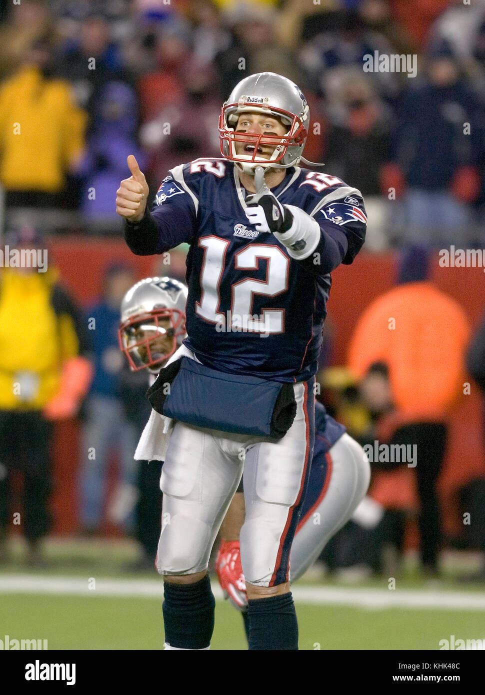 New England Patriot Quarterback Tom Brady (12) signals in the fourth quarter.   Foxboro, MA, USA - Stock Image
