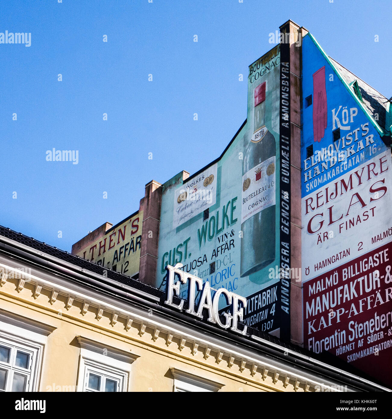 roof top advertising Malmo Sweden - Stock Image