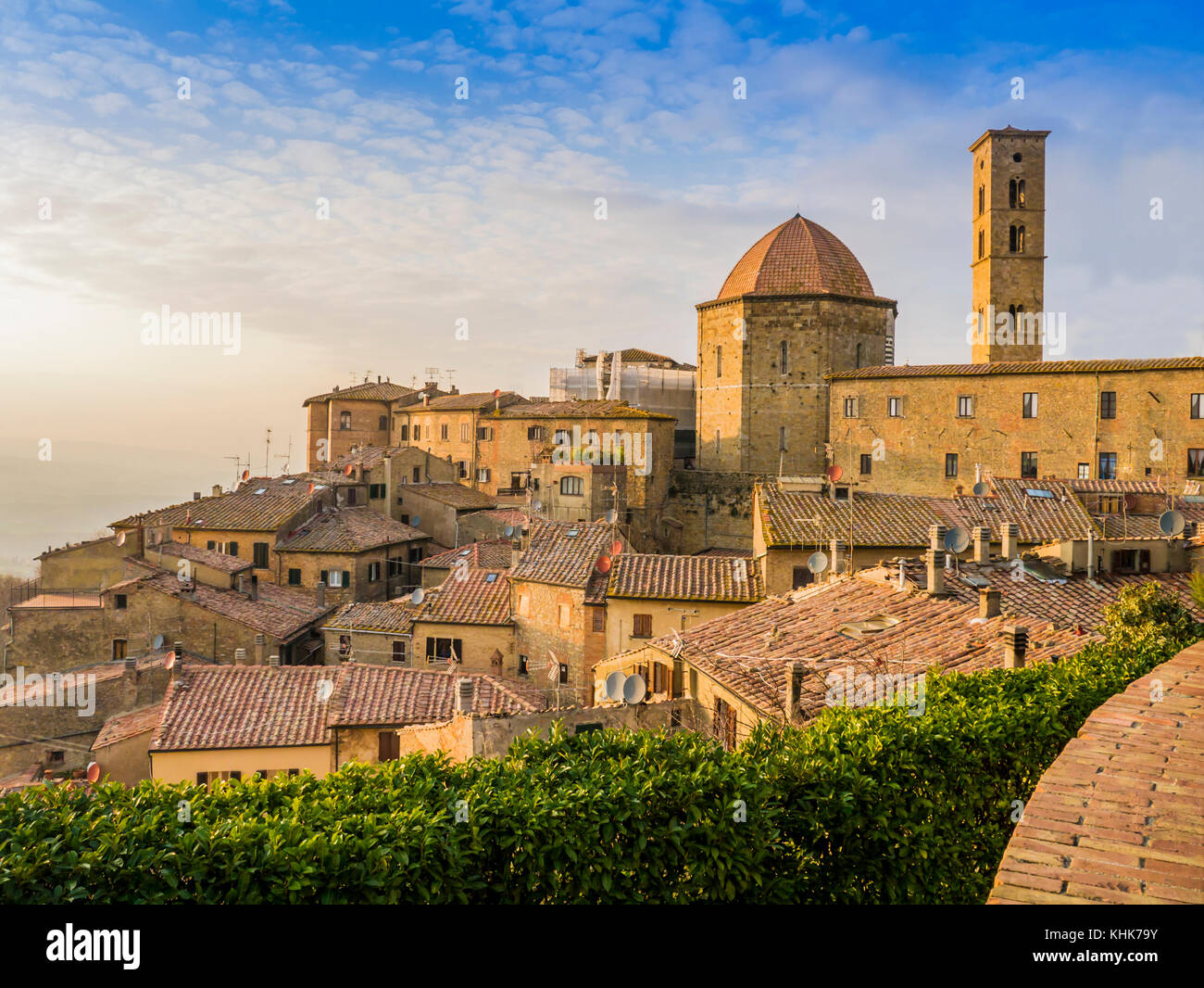 Panoramic view of Volterra, Tuscan village of Etruscan origin, famous for its alabaster, Italy - Stock Image