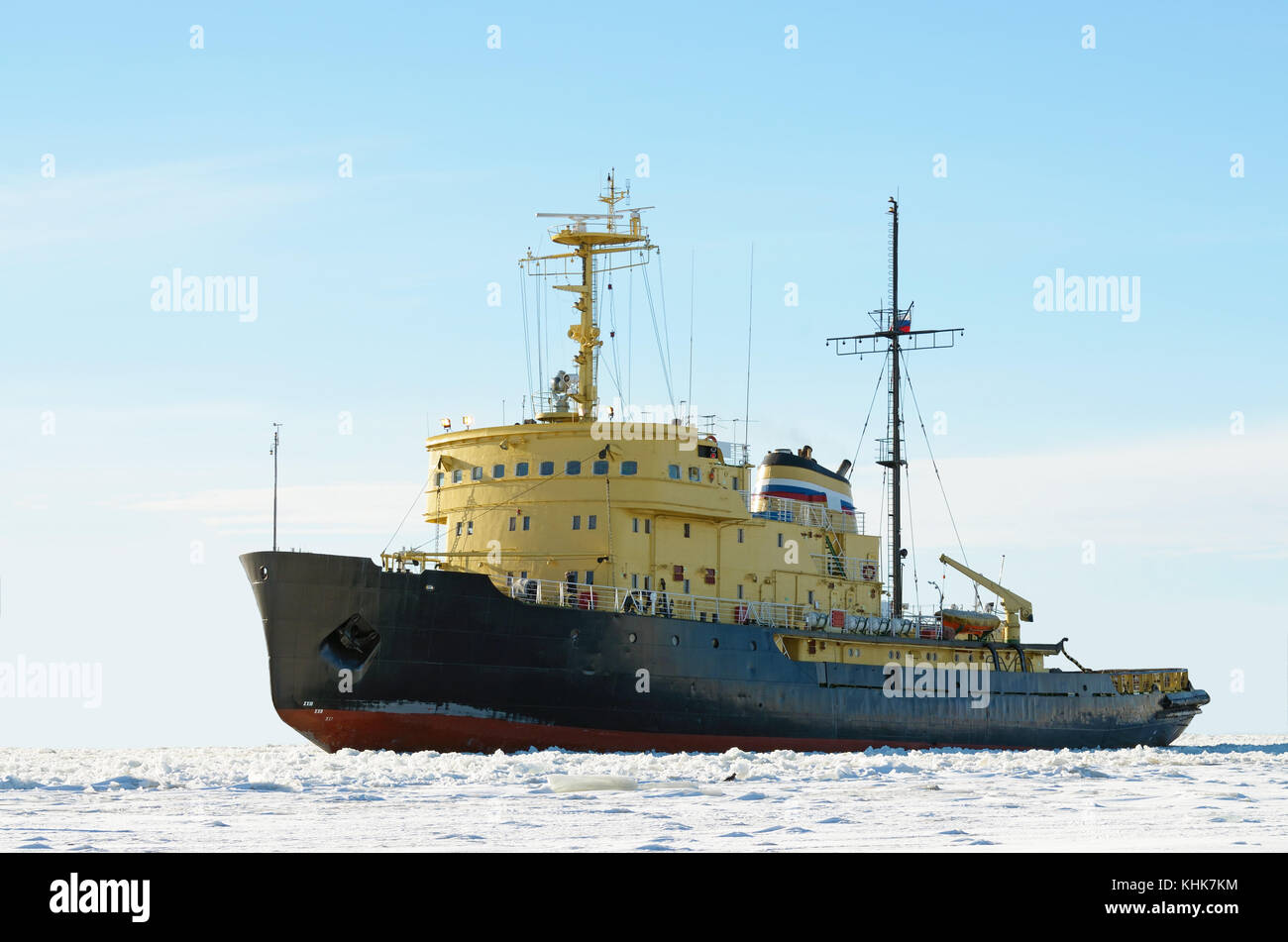 Nuclear-powered icebreaker is designed for breaking thick ice in the ocean. - Stock Image