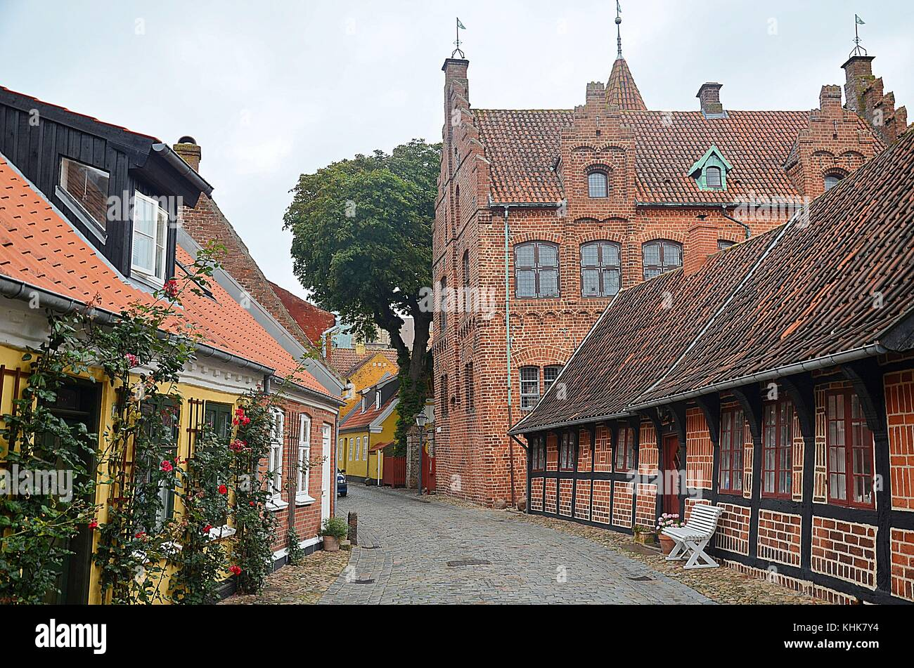 In the streets of Ribe (Denmark) - Stock Image