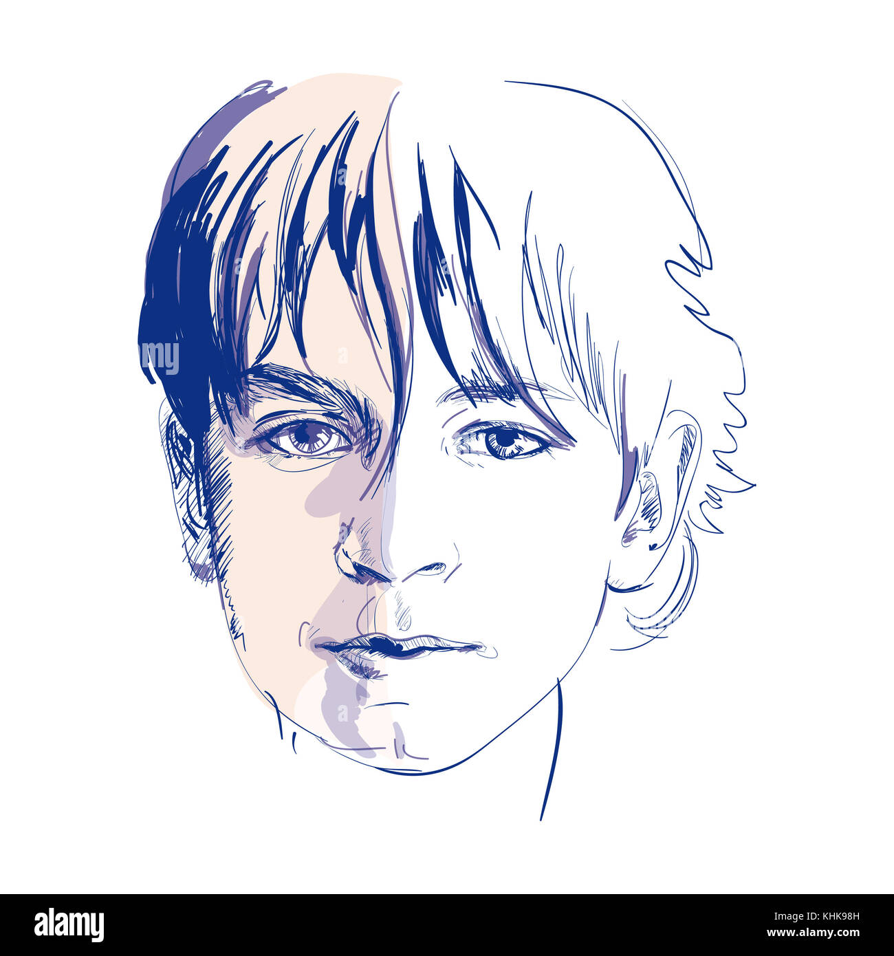 Young boy sketch vector