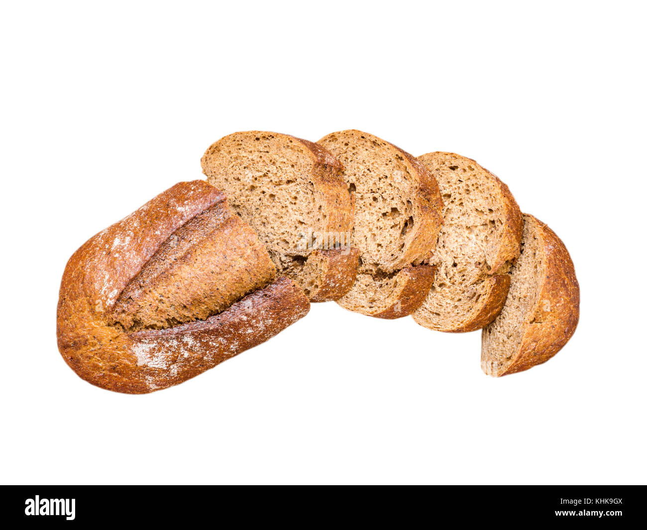 Whole-grain sliced bread. Whole wheat loaf top view. Artisan rustic bread isolated on white. - Stock Image