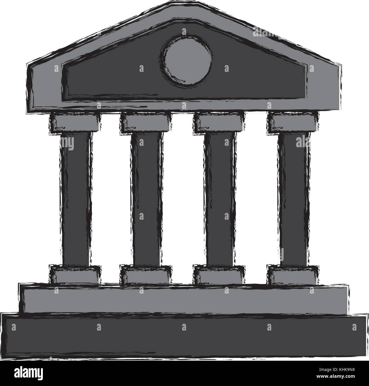 Greek columns building - Stock Vector