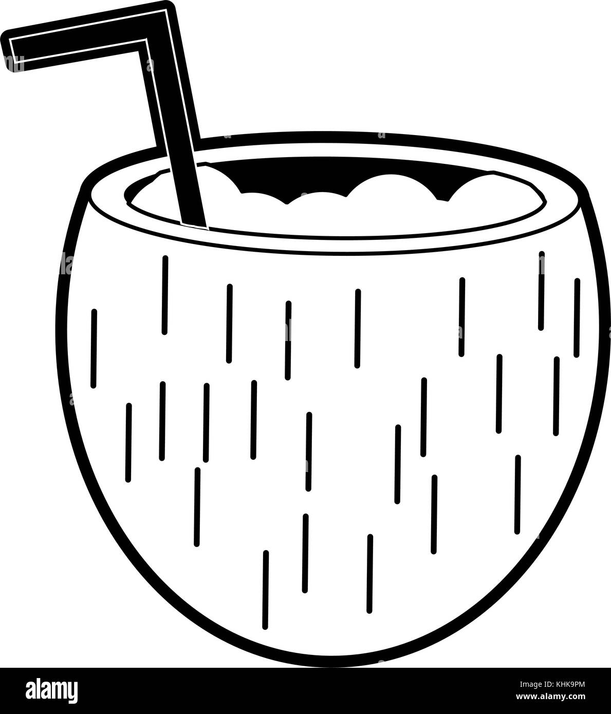 Coconut Drink Black And White Stock Photos Images