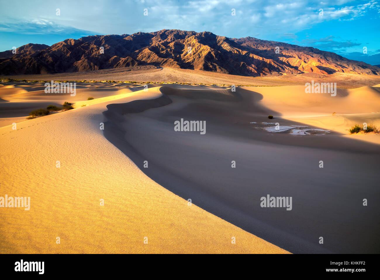 Sand dunes in the desert at sunrise Stock Photo