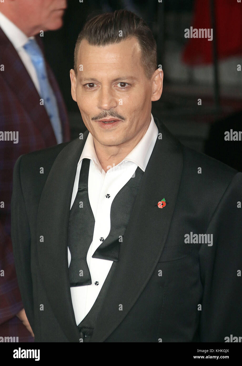 Nov 02, 2017 - Johnny Depp attending Murder On The Orient Express' World Premiere, Royal Albert Hall in London, - Stock Image
