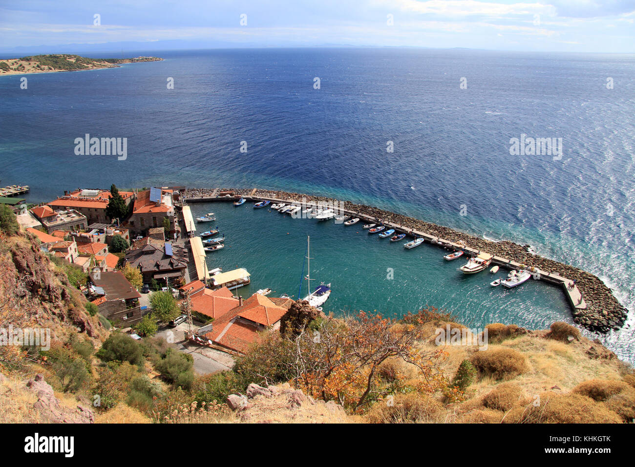 Old port Iskele near ancient Assos in Behramkale, Turkey - Stock Image