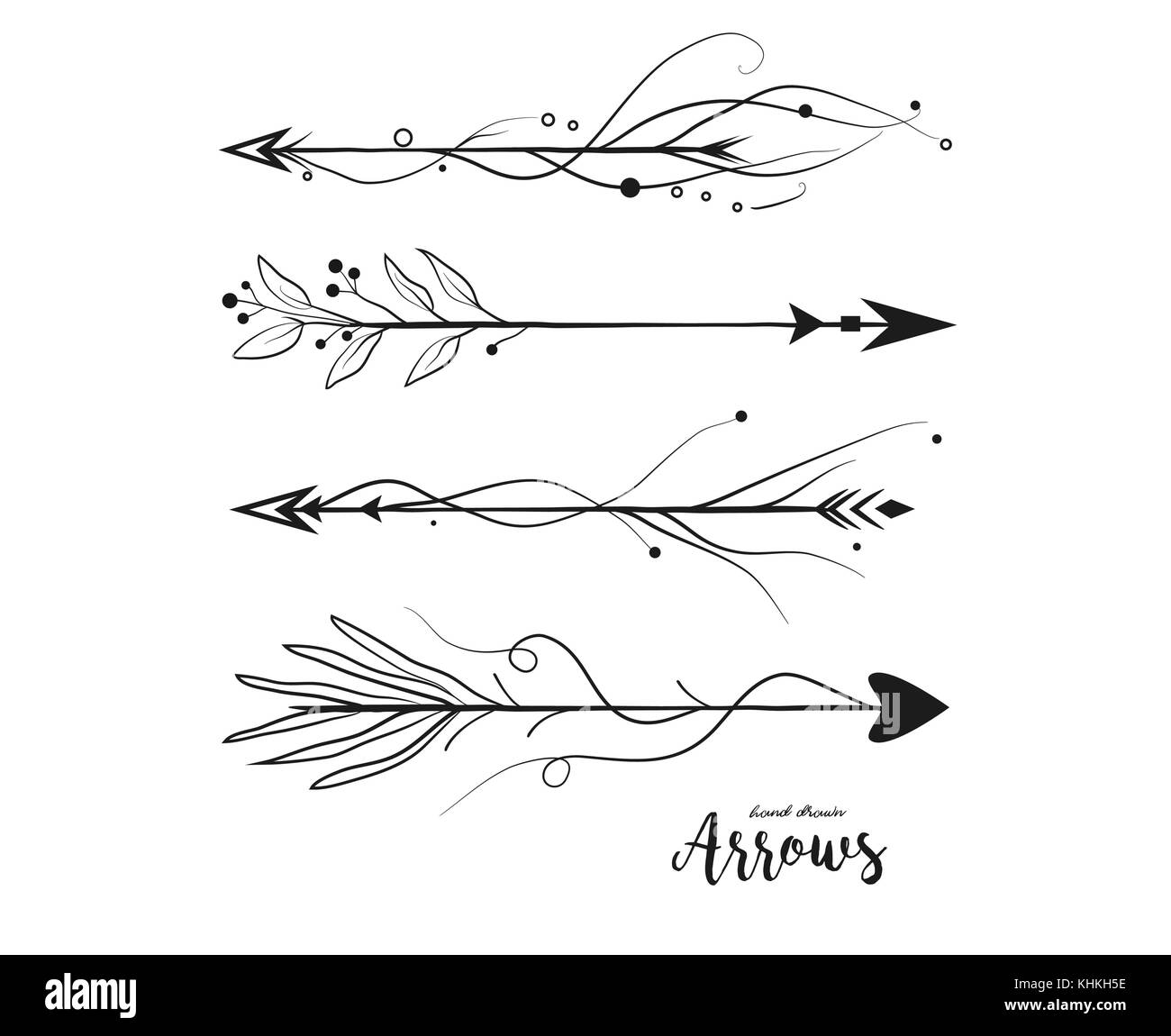 Arrow Hand Drawn Set Vector Arrows Collection In Boho Rustic Style Linear Beautiful Ornate With Curve Dots Vintage Illustration Decorative Lovely P