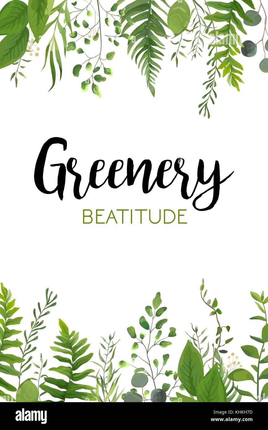 Vector Floral Greenery Vertical Card Design Forest Fern