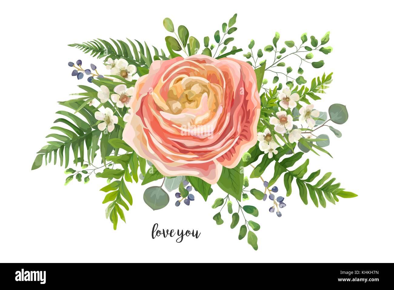 Flower Bouquet vector watercolor element. Peach, pink rose Stock ...