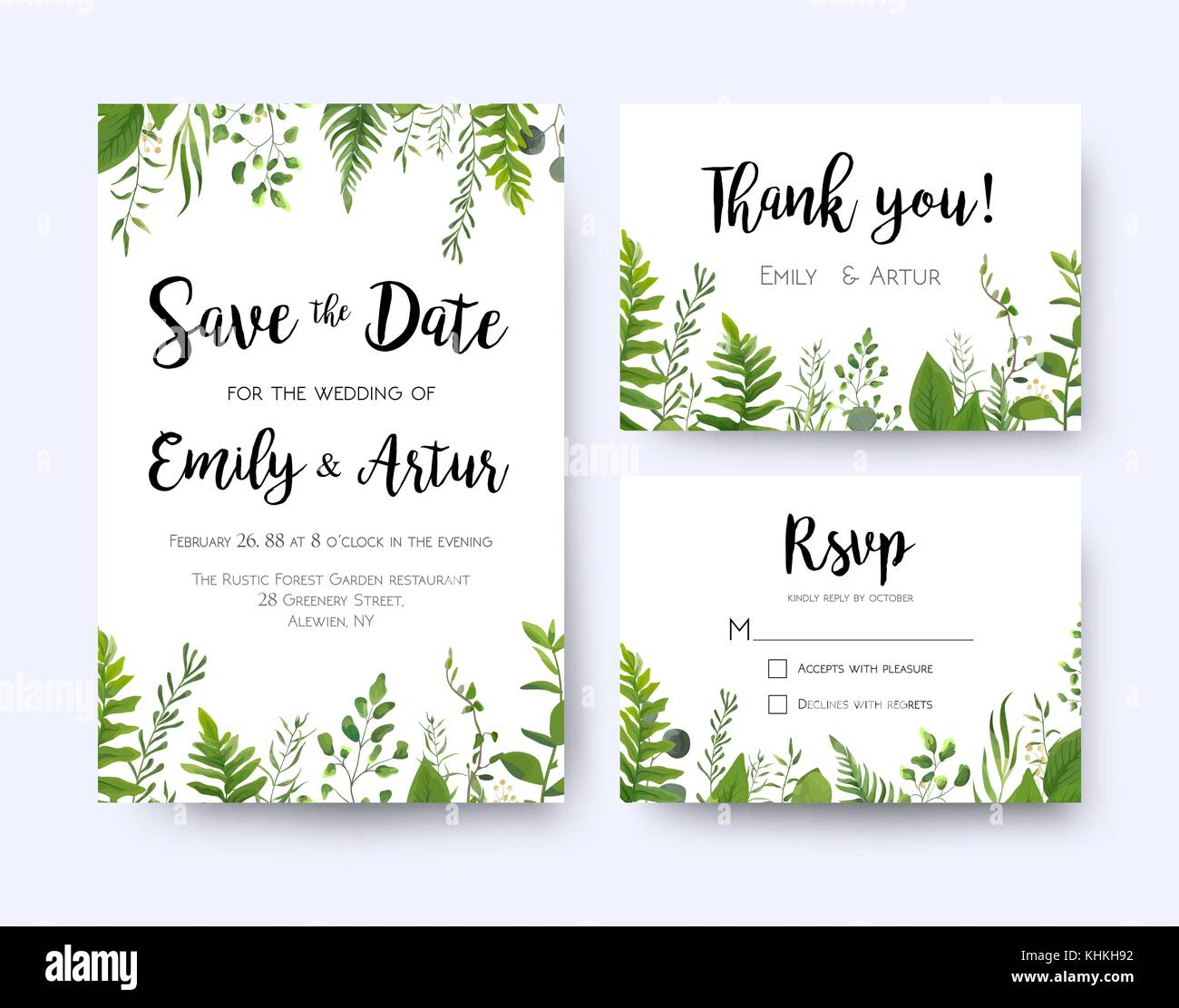 Wedding invite, invitation menu rsvp thank you card vector floral ...