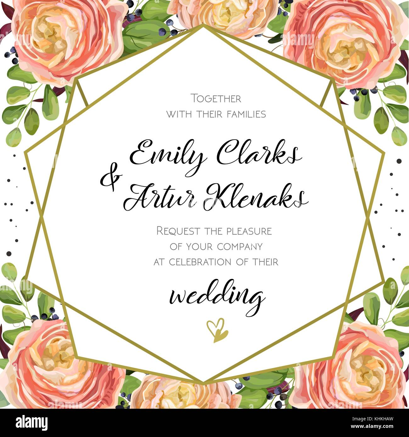 Wedding Invitation, floral invite card Design with pink peach rose ...