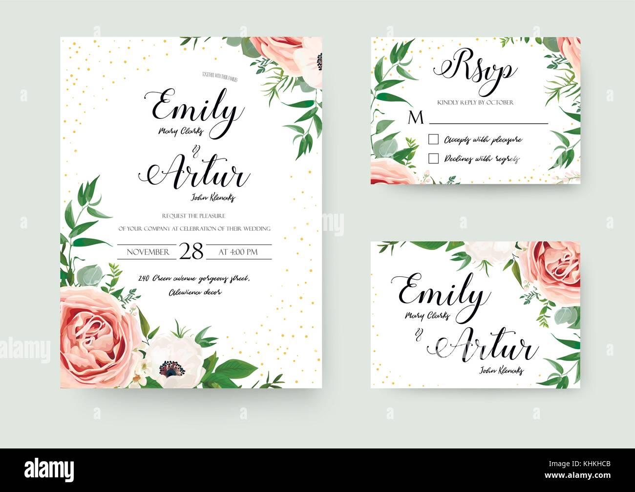 Vector Wedding Invitations: Wedding Vector Floral Invite Invitation Thank You, Rsvp