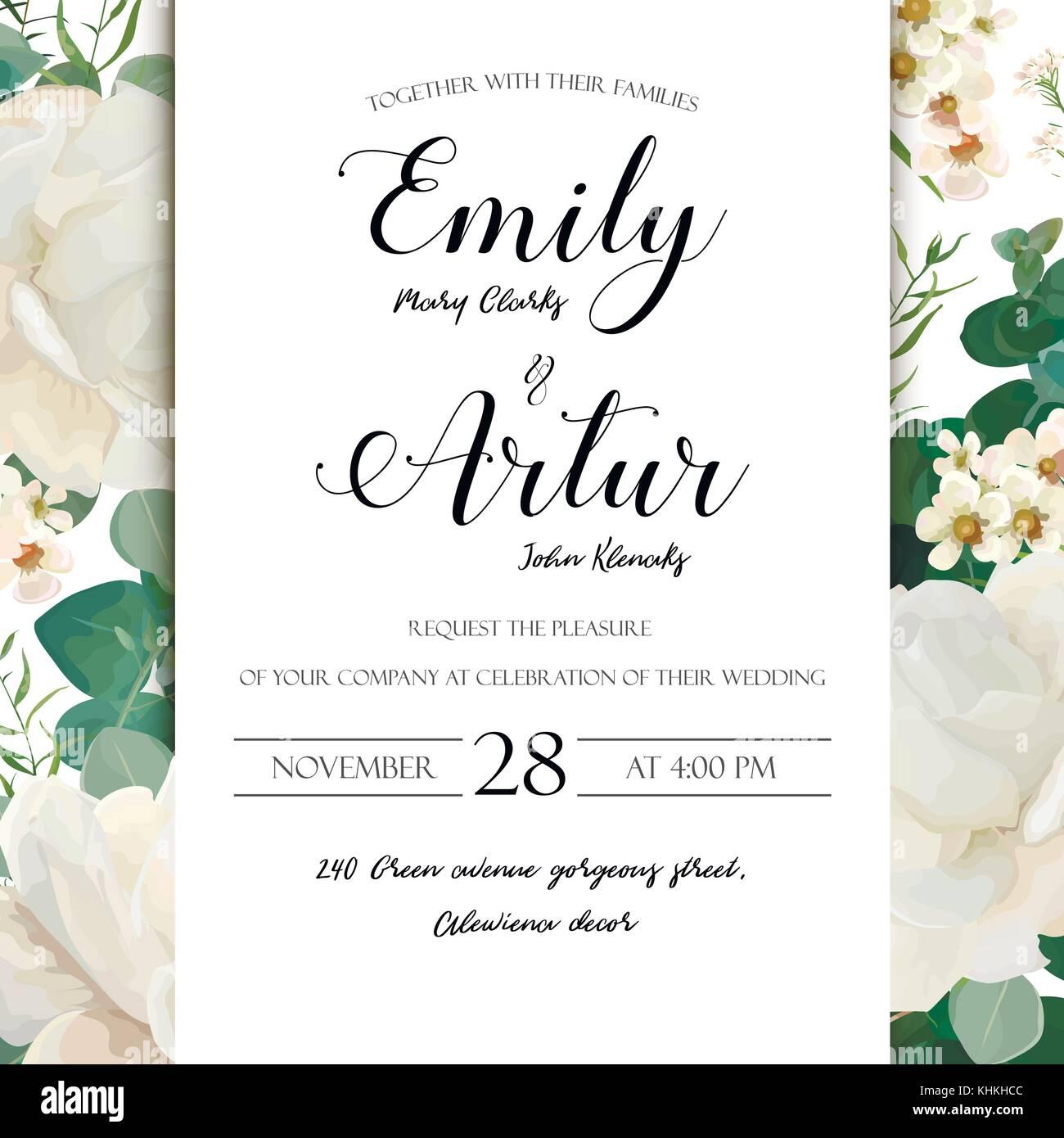 Floral Wedding Invitation save the date card elegant invite card ...