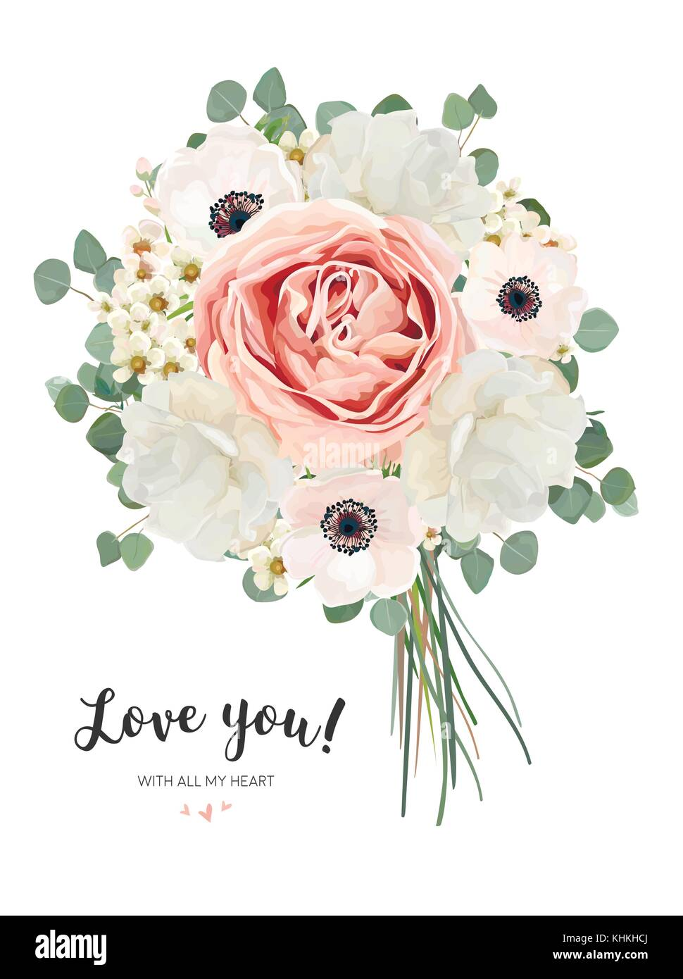 Wax creamy flowers stock photos wax creamy flowers stock images flower bouquet floral bunch vector card design with bouquet of peach pale pink anemone izmirmasajfo