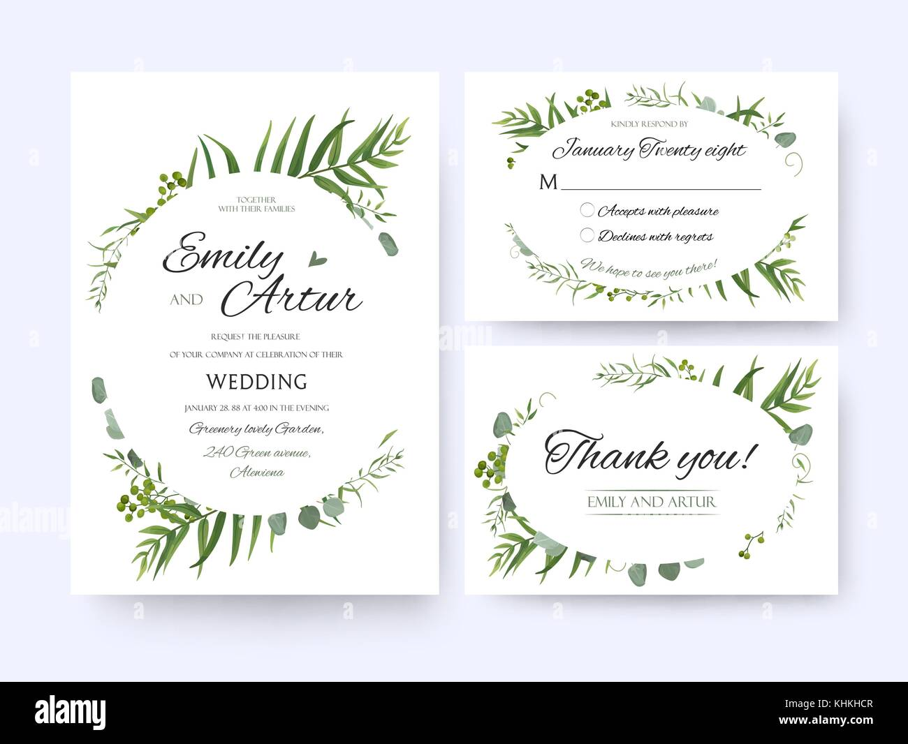Wedding invite, invitation rsvp thank you card vector floral ...