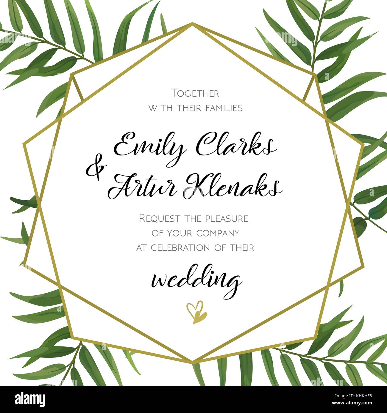 Wedding Invitation Floral Invite Card Design With Green Tropical Forest Palm Tree Leaves Fern Greenery Simple Geometric Golden Border Hexago