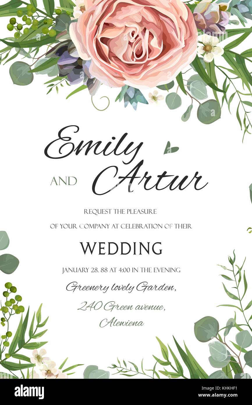 wedding invitation invite save the date floral card vector design garden lavender pink peach rose succulent wax green palm leaves elegant greenery e