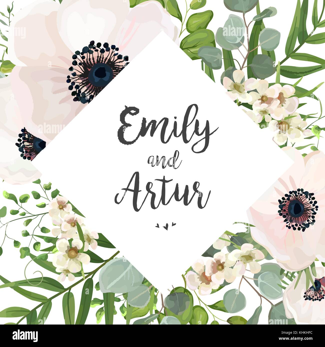 Flowers Vector Design Wedding Invitations Wedding: Vector Floral Wedding Invite Card Design: Eucalyptus