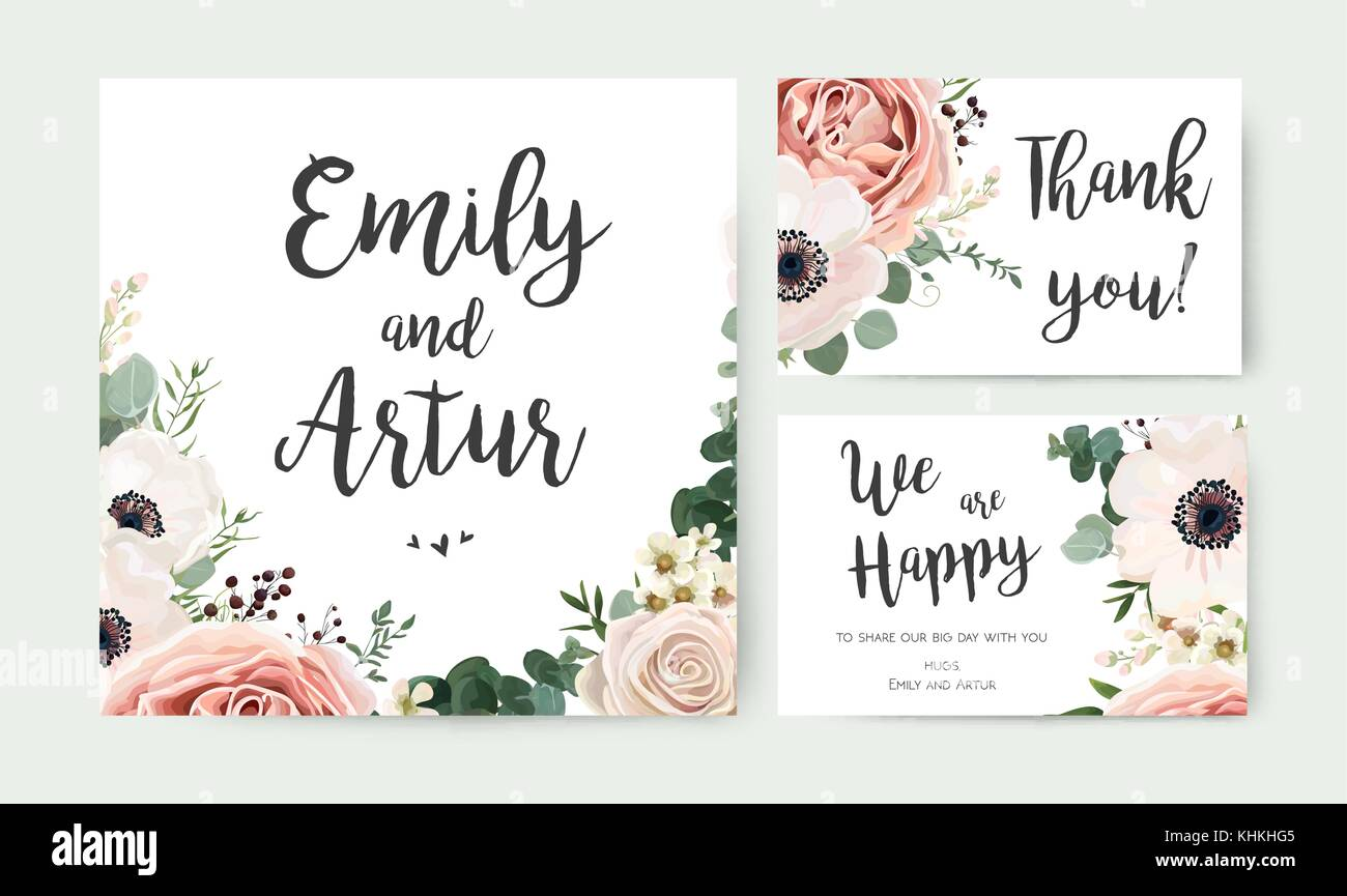 Wedding Invitation, floral invite card vector Design: garden ...