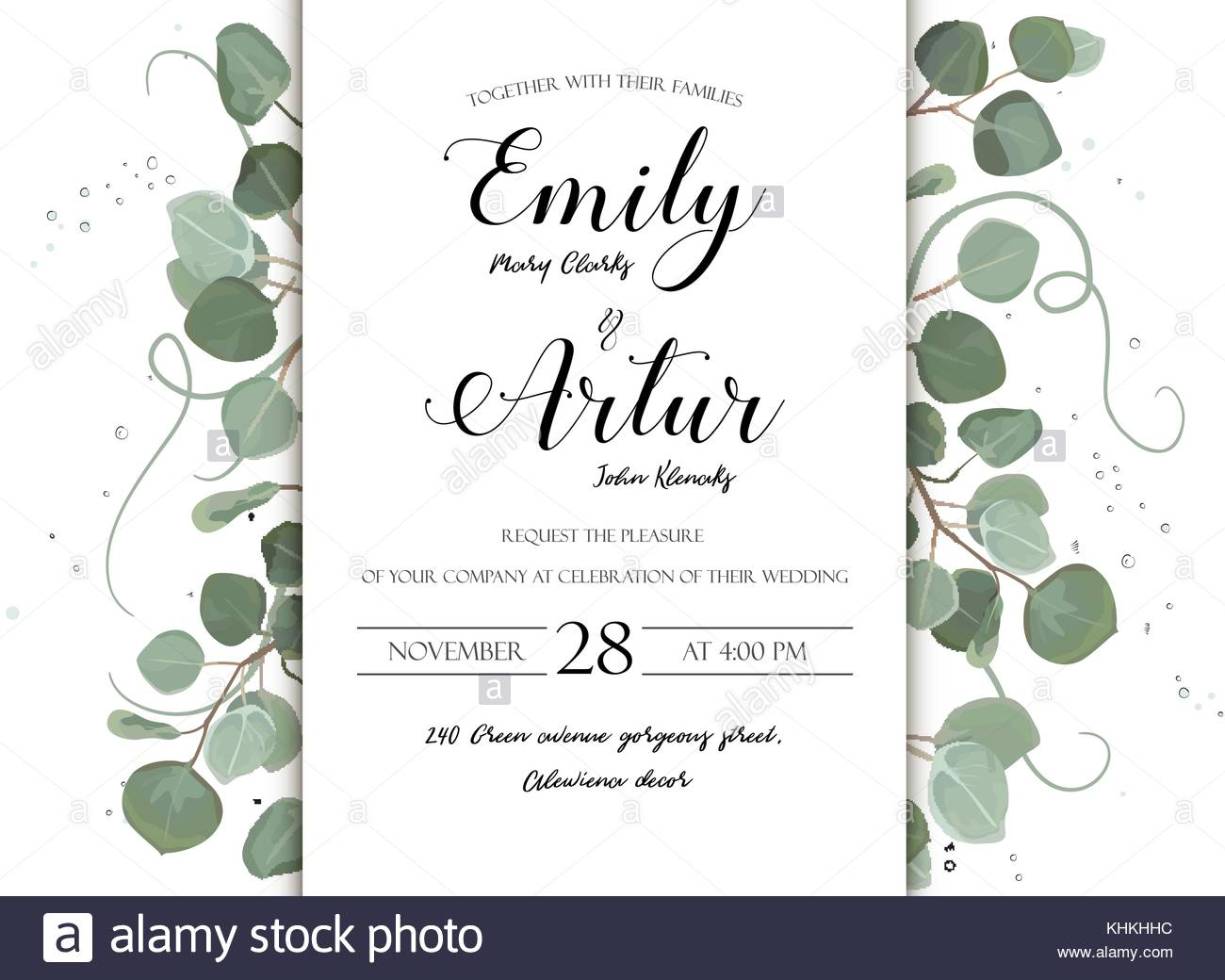 Wedding floral hand drawn invite invitation card design eucalyptus wedding floral hand drawn invite invitation card design eucalyptus silver dollar branch greenery natural leaves watercolor style rustic elegant del stopboris Image collections