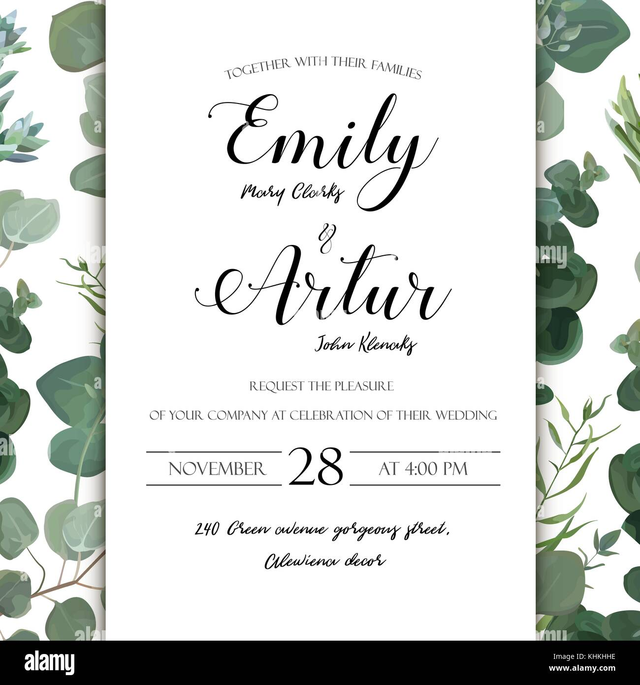 Wedding floral hand drawn invite invitation card design: Eucalyptus ...