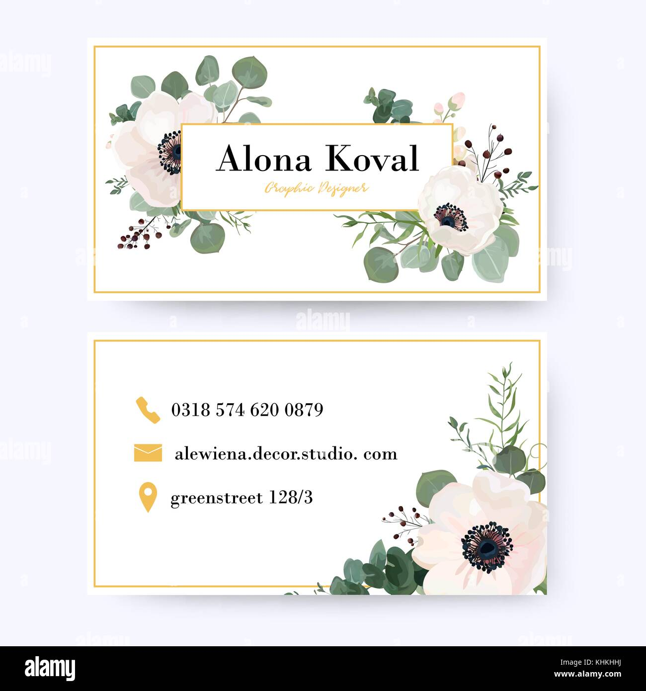 Floral business card design. Vintage anemone flower eucalyptus Stock ...