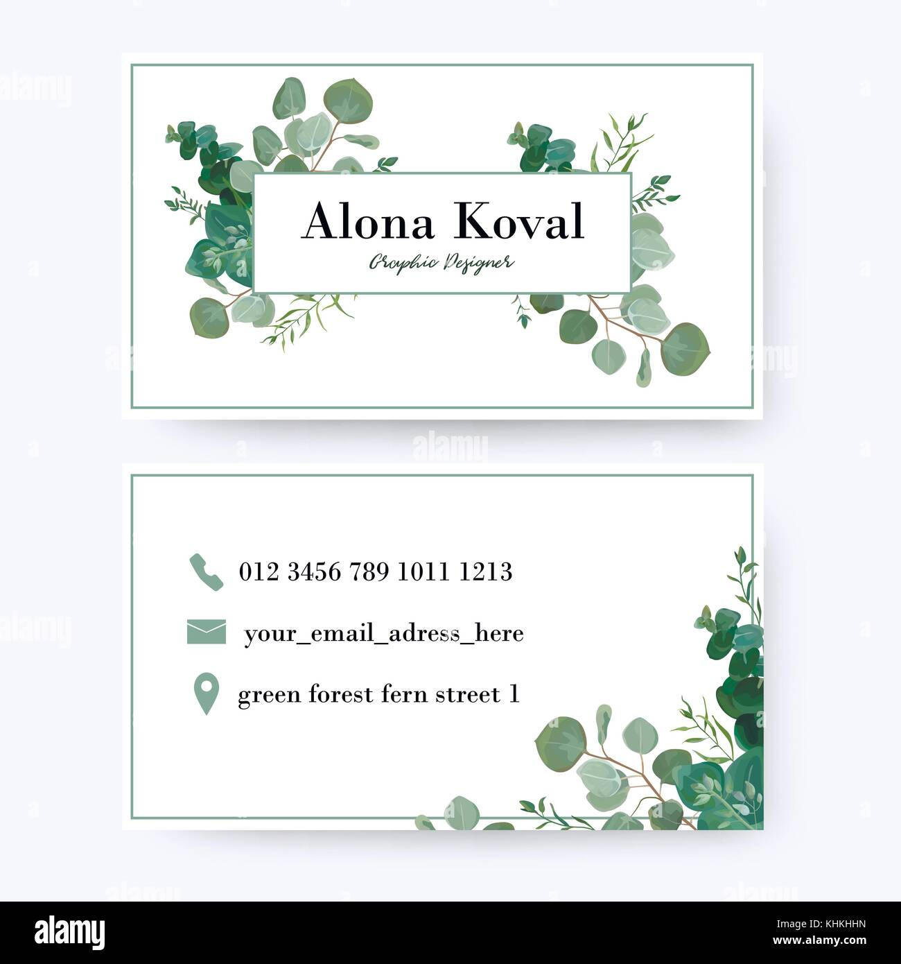 Floral business card design. Vintage rustic eucalyptus silver green ...