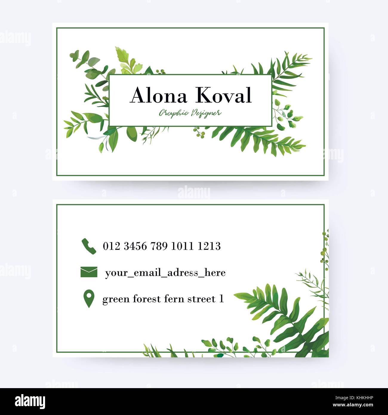 Floral business card design. Vintage, rustic eucalyptus green herbs ...