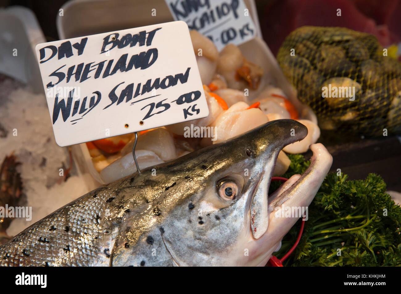 UK, London, Southwark, Borough Market, fish stall, day boat Shetland wild Salmon for sale Stock Photo