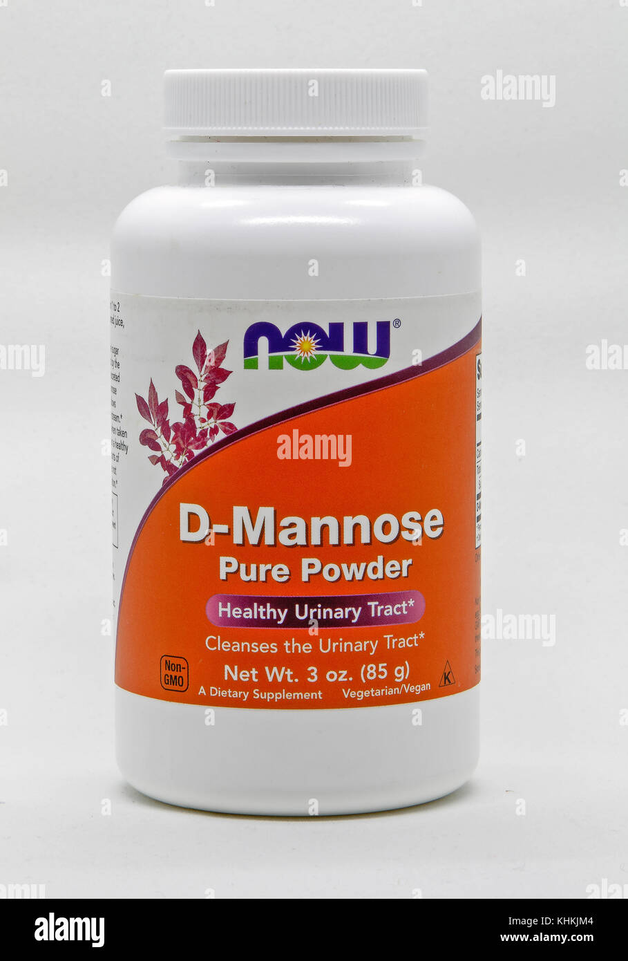 Bottle of D-Mannose, urinary tract cleanser, against white background. - Stock Image