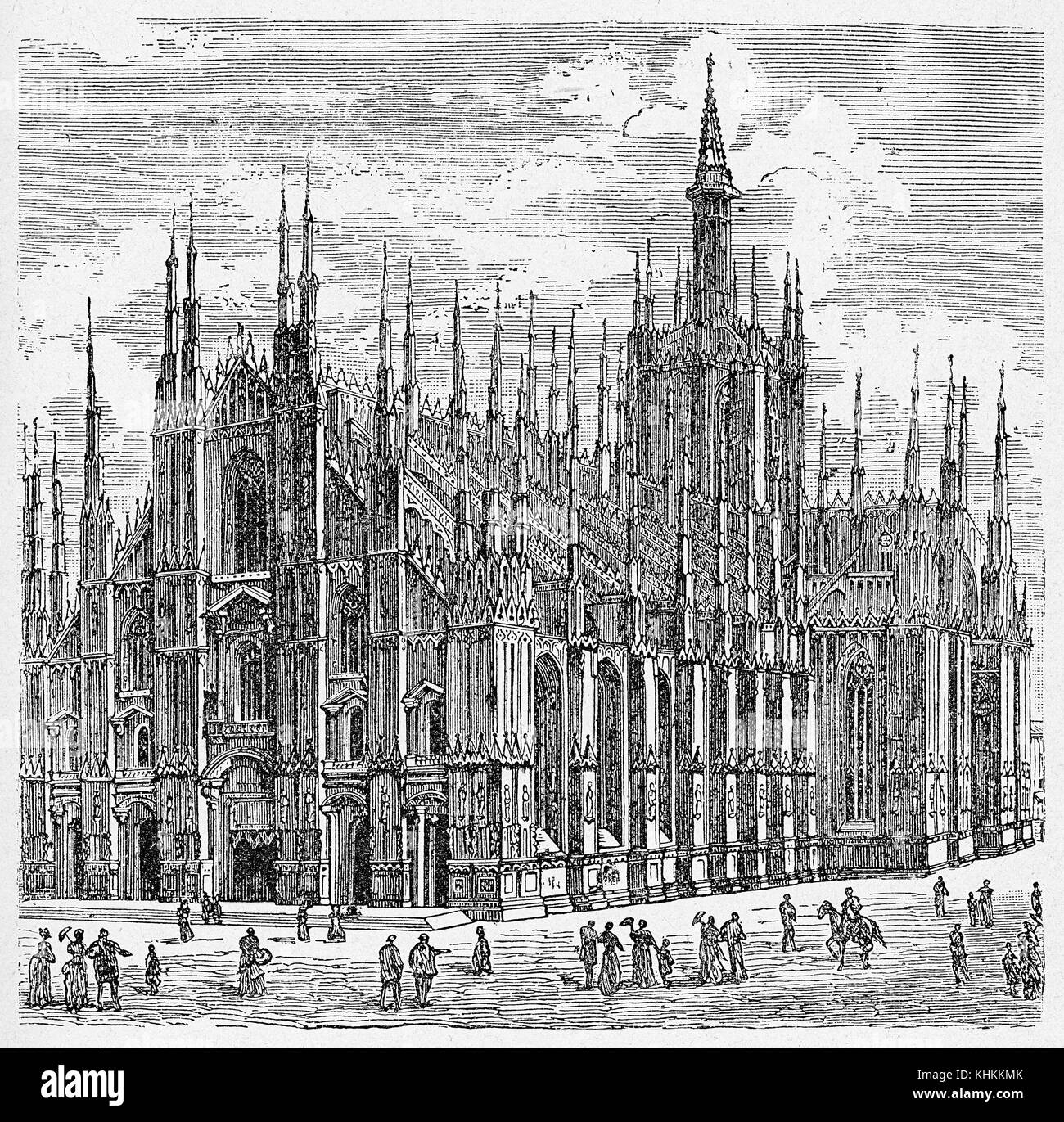 Milan cathedral in Gothic style, immense Renaissance building, third largest church in the world. The basilica construction - Stock Image