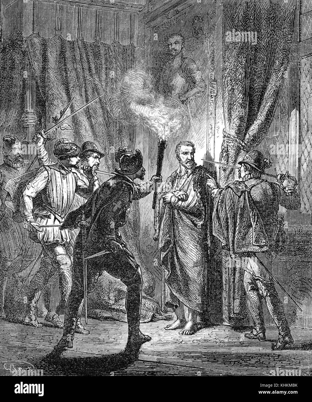 Gaspard II de Coligny, Comte de Coligny, impressing his murderers, The Massacre of St. Bartholomew's Eve Stock Photo