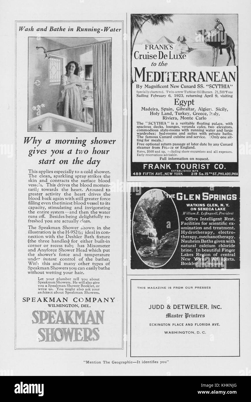 A Magazine Layout Featuring Four Advertisements The Half Page Ad Features Products From Speakman Showers