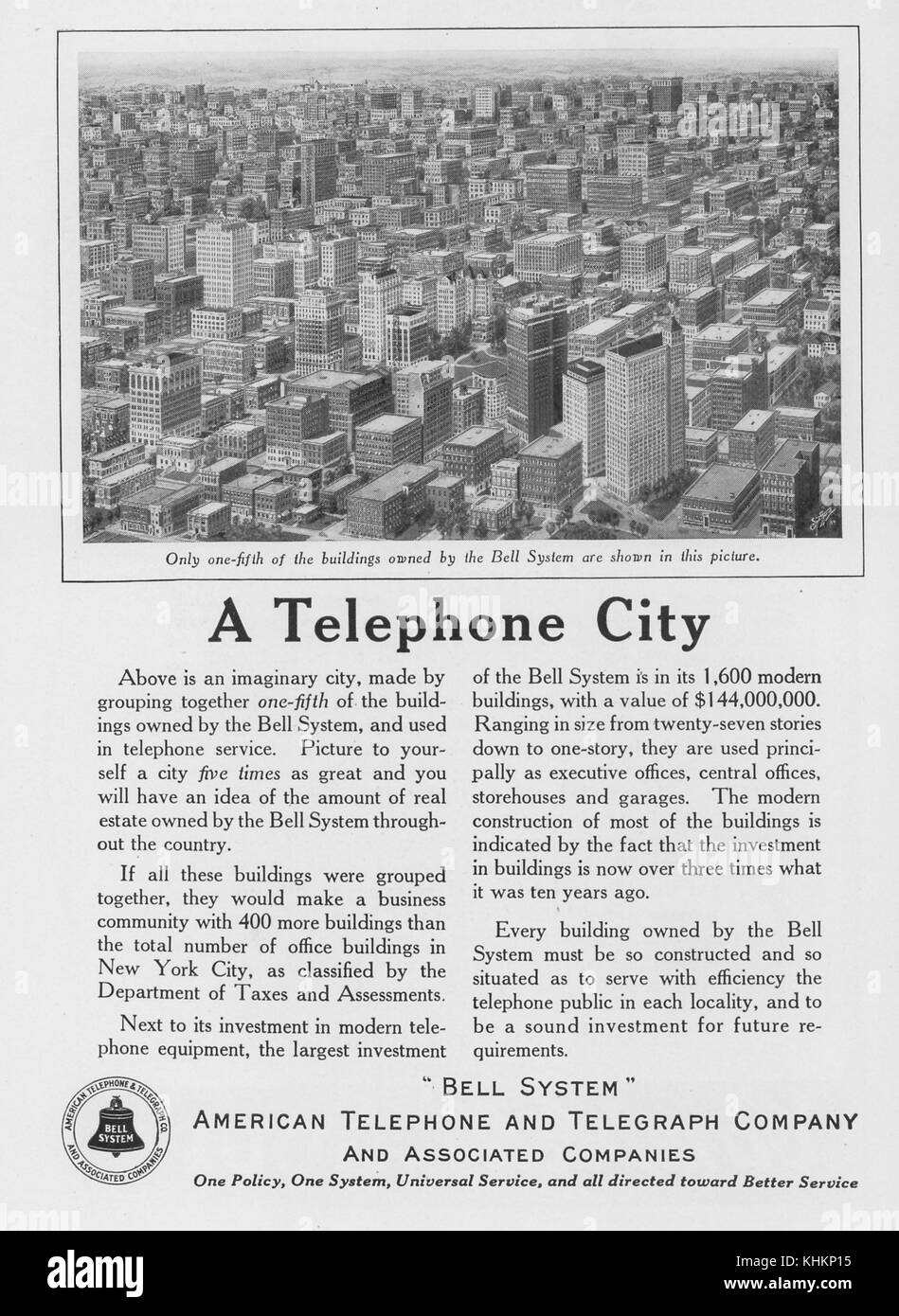 Full page advertisement for the American Telephone and Telegraph Company and Associated Companies, titled A Telephone - Stock Image