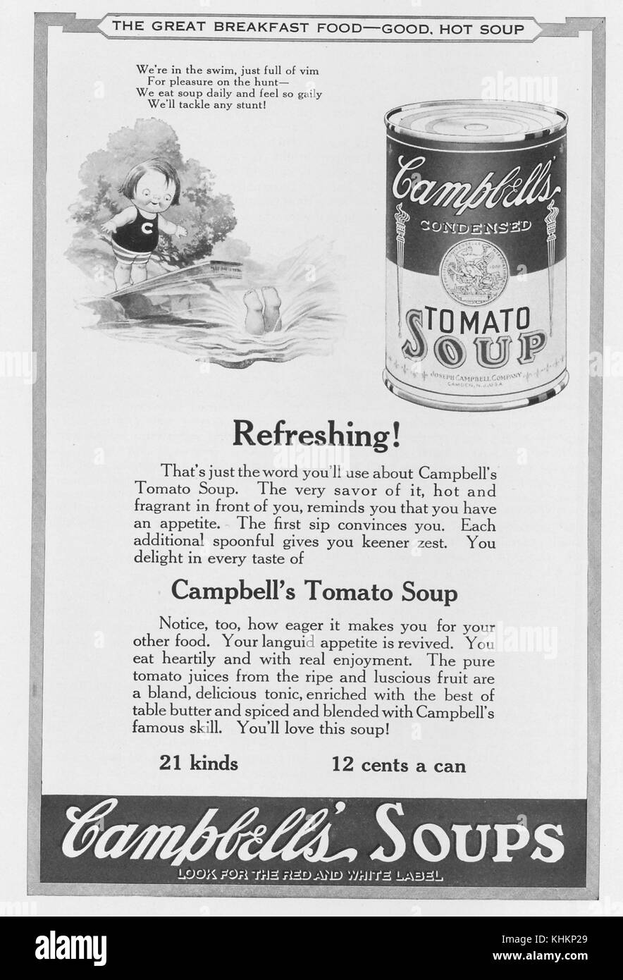 Full page advertisement for Campbell's Condensed Tomato Soup, featuring a drawing of a child diving into the - Stock Image