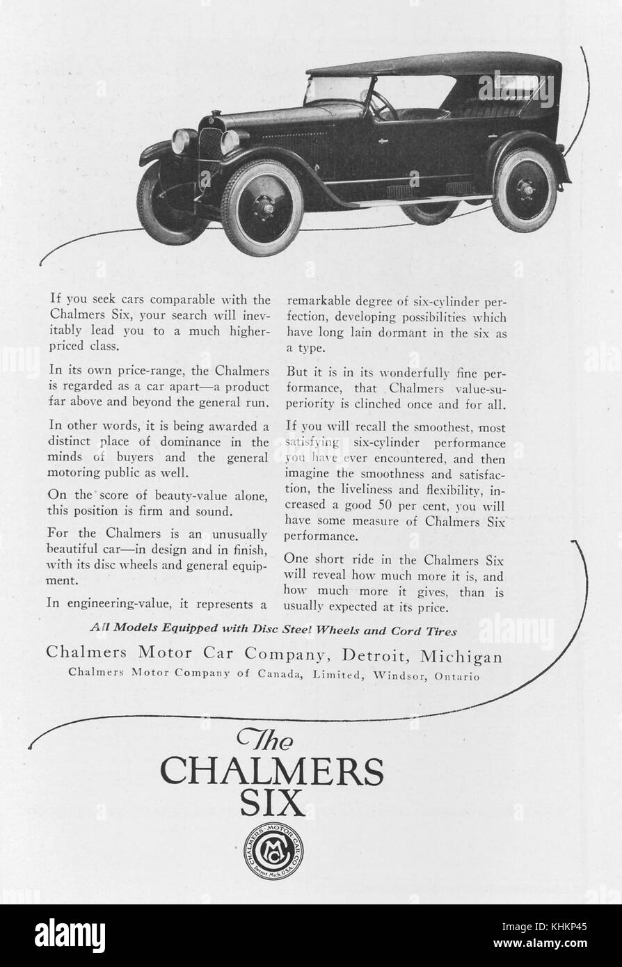 Full page advertisement for the Chalmers Six car model, by the Chalmers Motor Car Company of Detroit, Michigan, - Stock Image