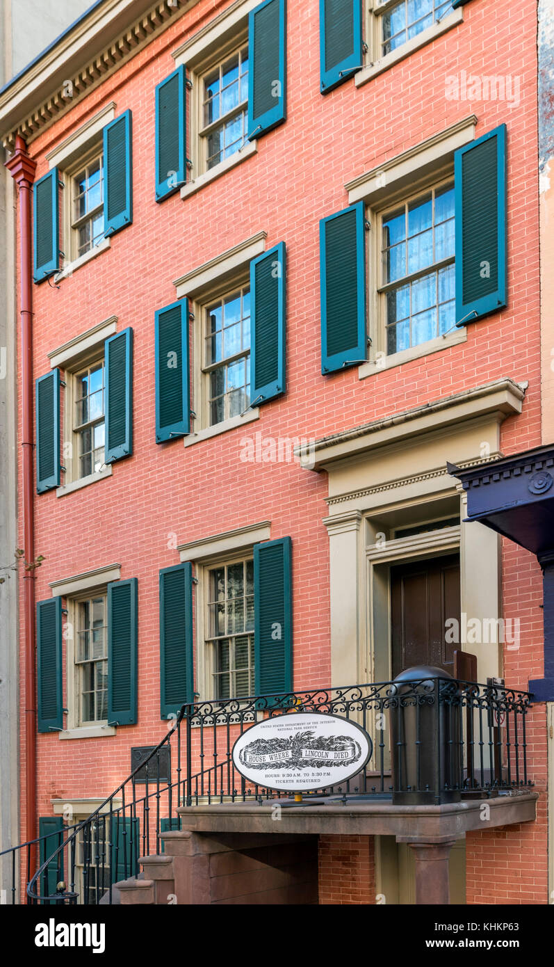 Petersen House, where Abraham Lincoln died on April 15 1865, 10th St NW, Washington DC, USA - Stock Image