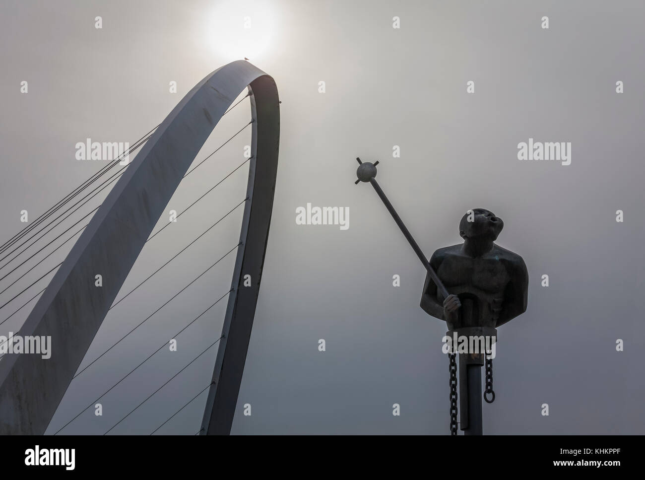 Panorama of River Tyne in Newcastle upon Tyne, Tyne and Wear in North East England including bridges and old factories - Stock Image