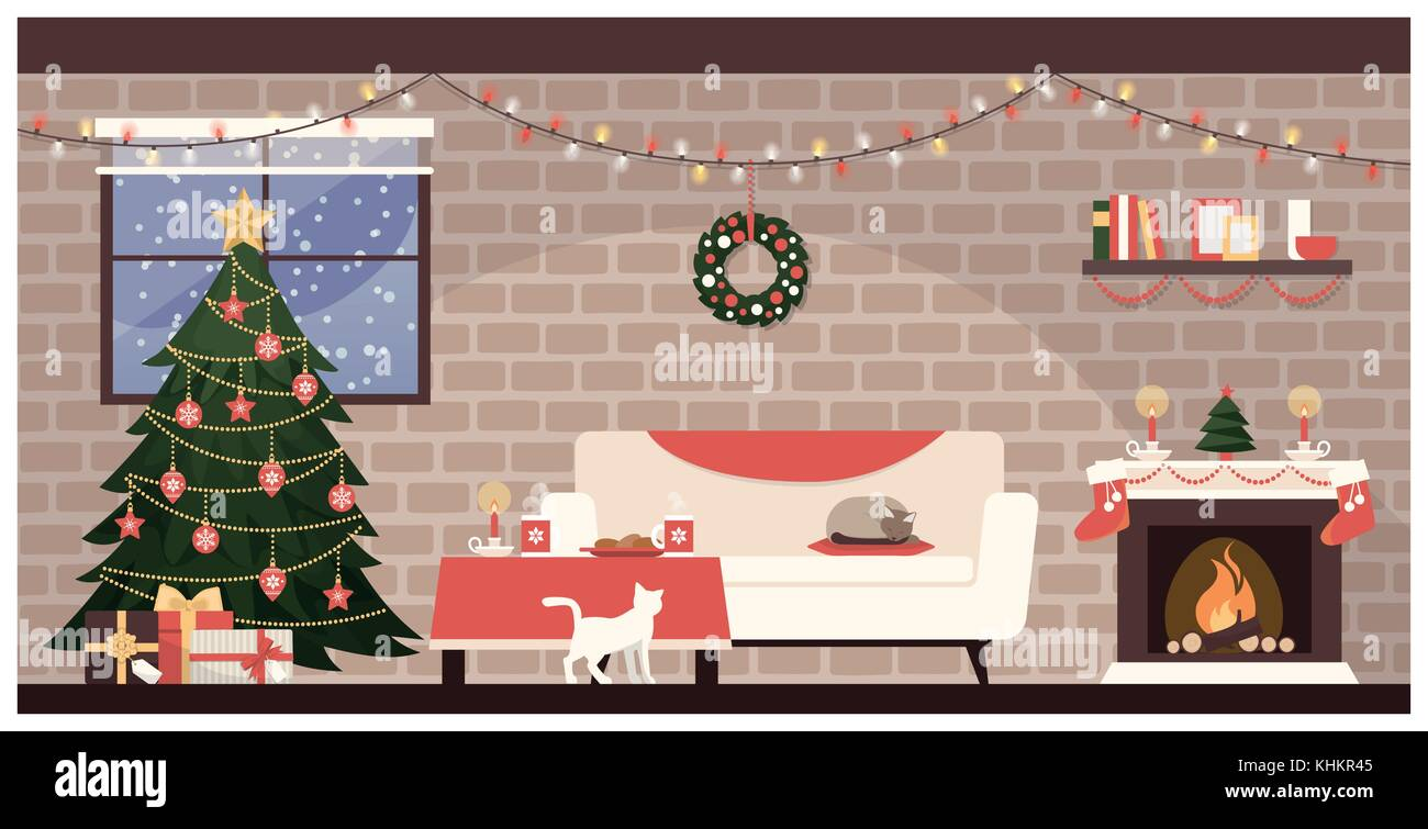 Traditional home interior at Christmas with decorated tree, gifts and sweets on the table - Stock Vector