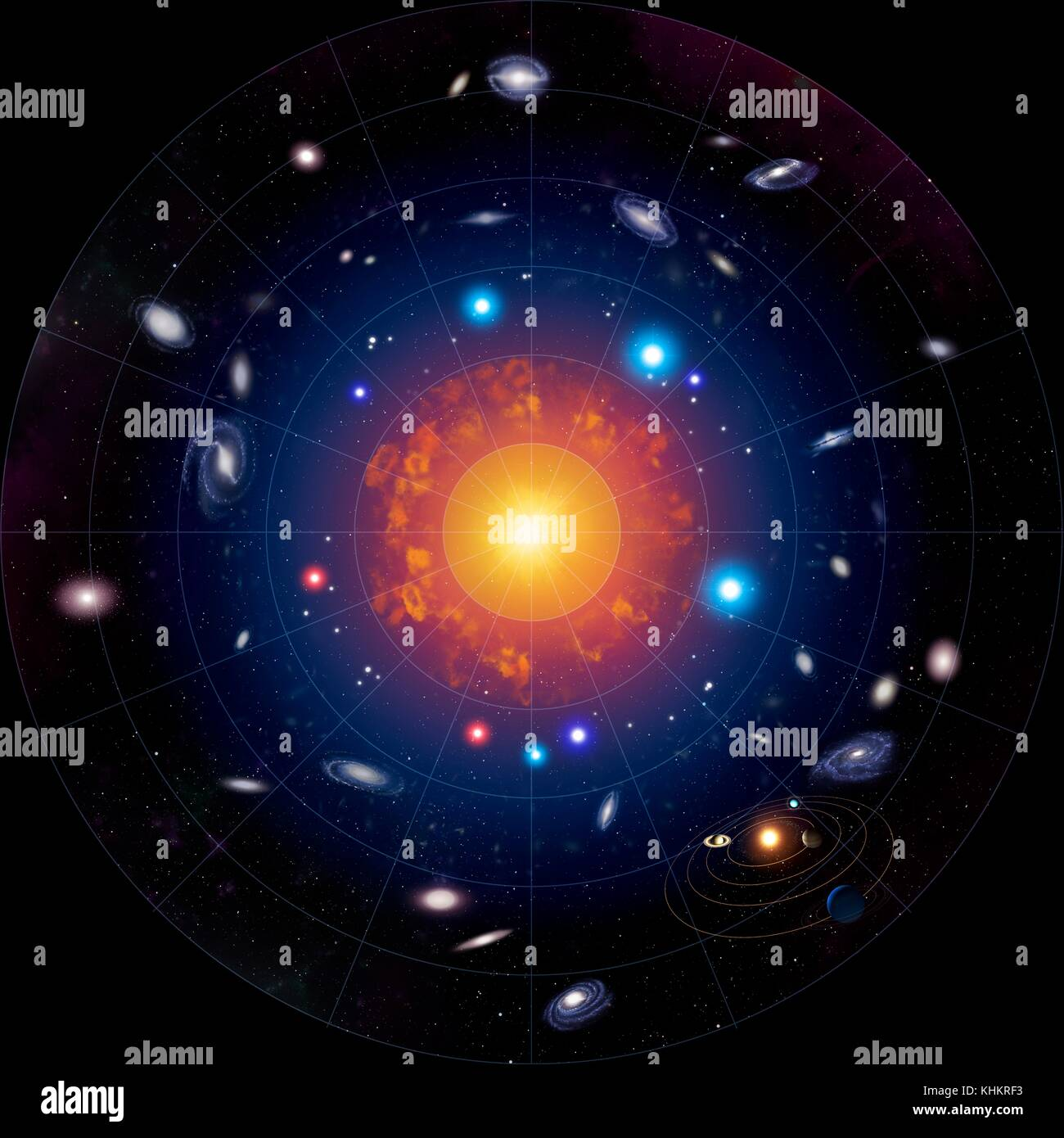 Schematic illustration showing the development of the Universe from the Big Bang to the present day.At the centre - Stock Image
