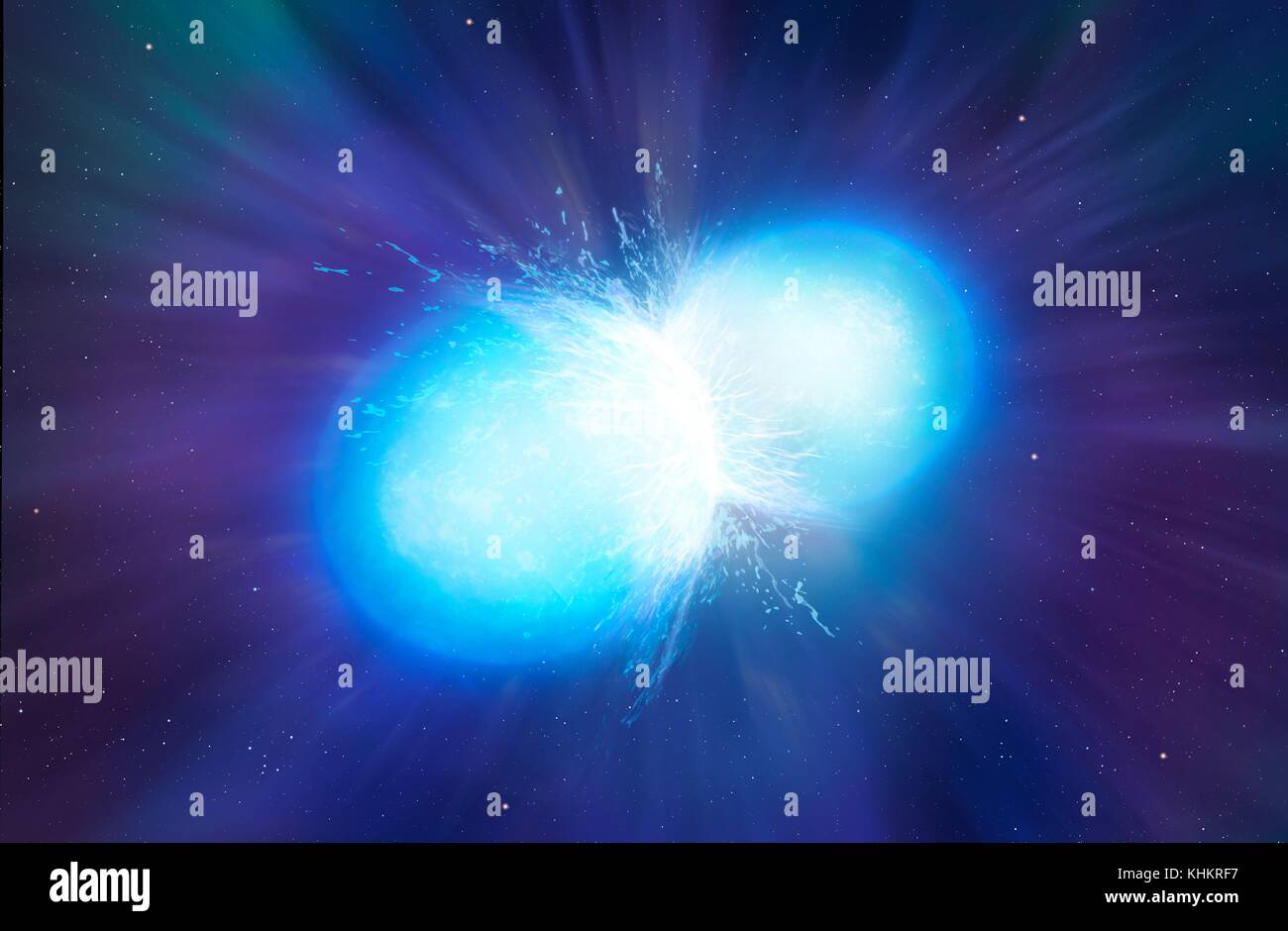 Neutron stars merging, illustration. Neutron stars are the remnants of stars that have run out of fuel and exploded - Stock Image