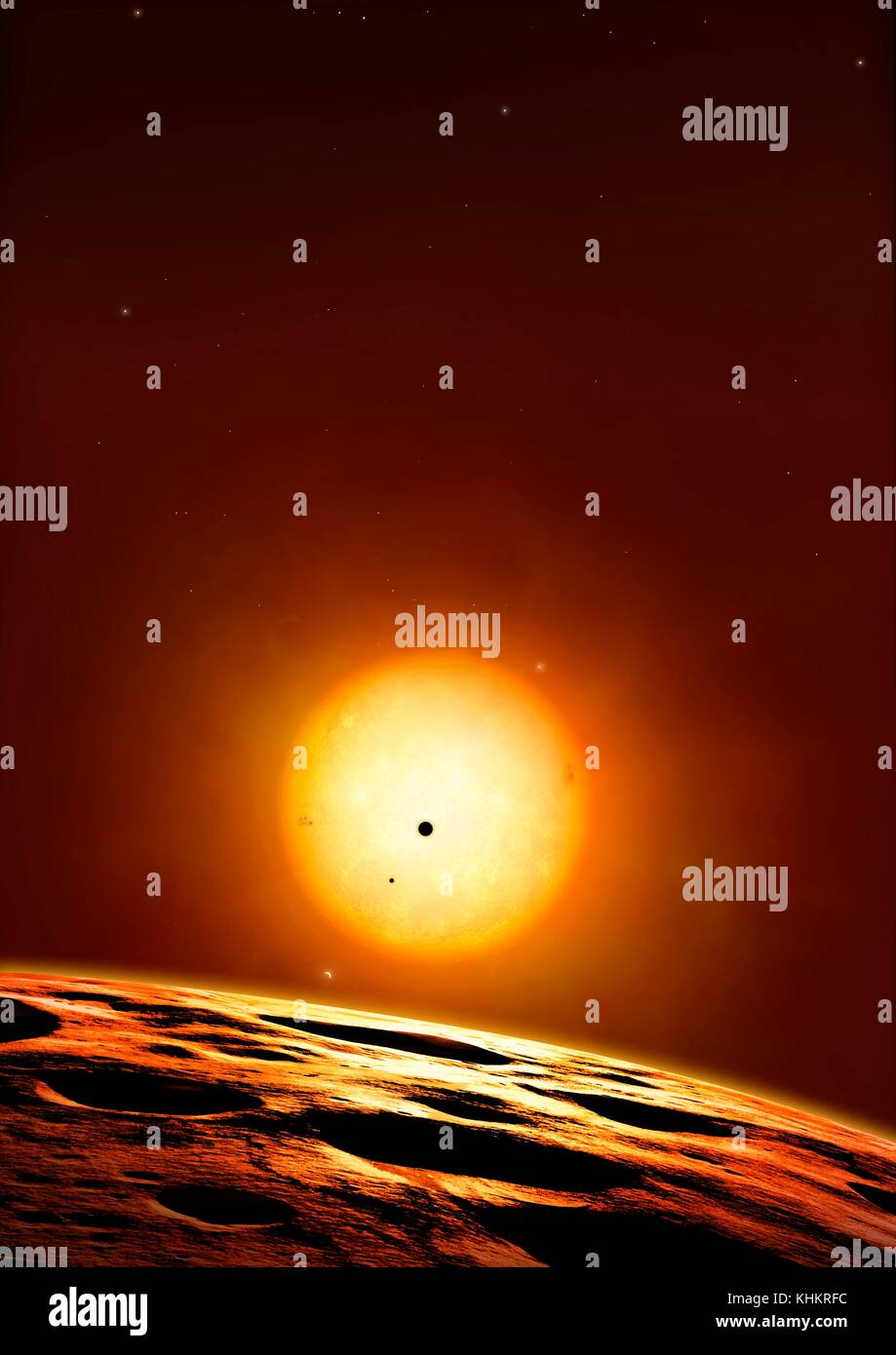 Kepler 444 system of planets,illustration.Kepler 444 is an ancient star,estimated to be about 11.2 billion years - Stock Image