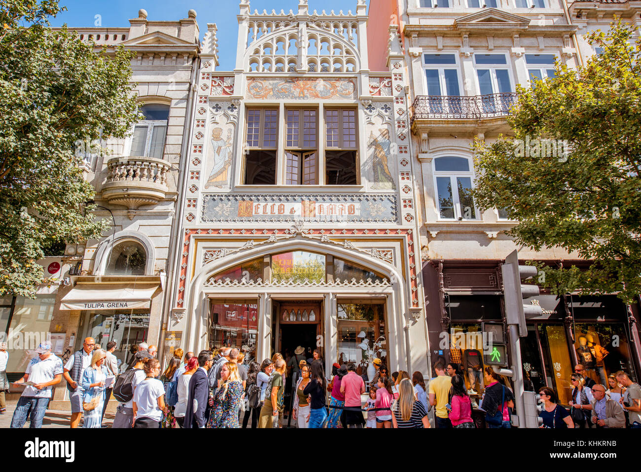 PORTO, PORTUGAL - September 24, 2017: View on the Lello Bookstore facade with tourists waiting for the entrance. - Stock Image
