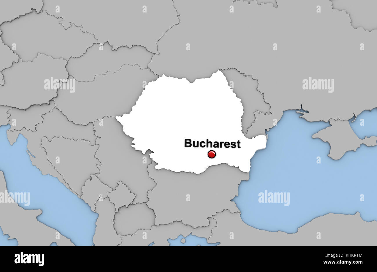 Abstract 3d render of map of Romania highlighted in white color and ...