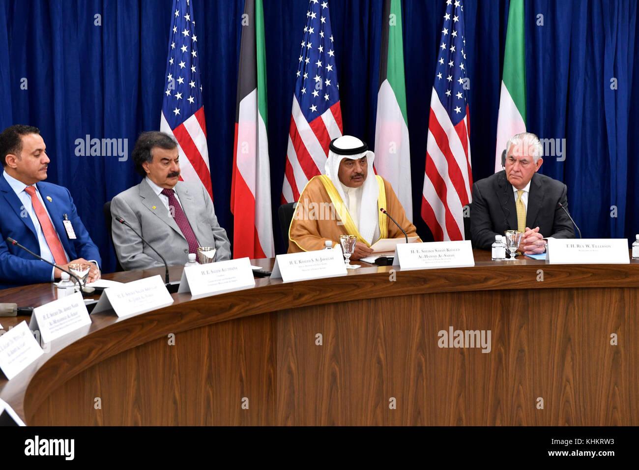 U.S. Secretary of State Rex Tillerson listens on as Kuwaiti Foreign Minister Sheikh Sabah Al-Khaled Al-Hamad Al - Stock Image
