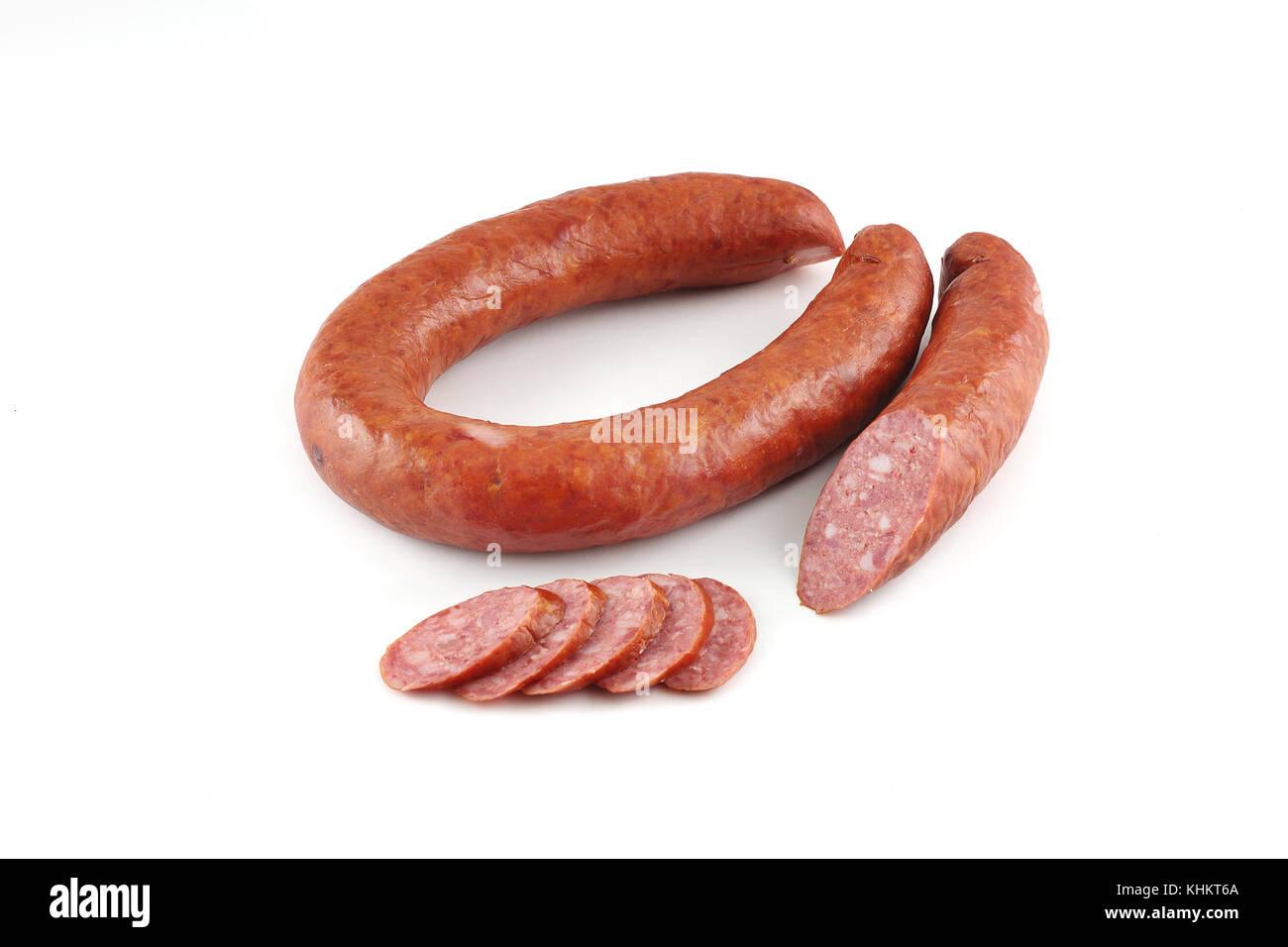 Sausage on a white background Stock Photo